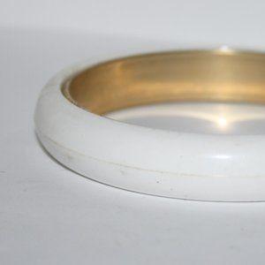Vintage white and gold bangle bracelet